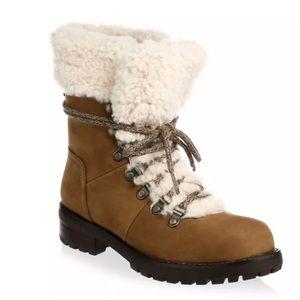 UGG Fraser Chestnut Leather Combat Boots NIB